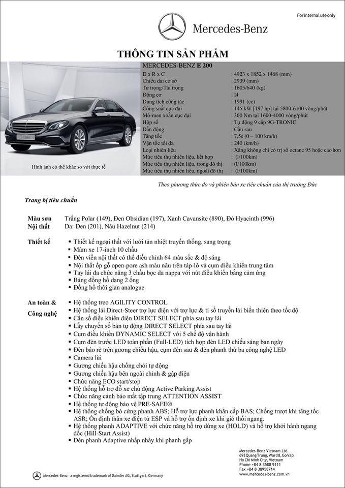 Thông số kỹ thuật của Mercedes E200 Facelifft
