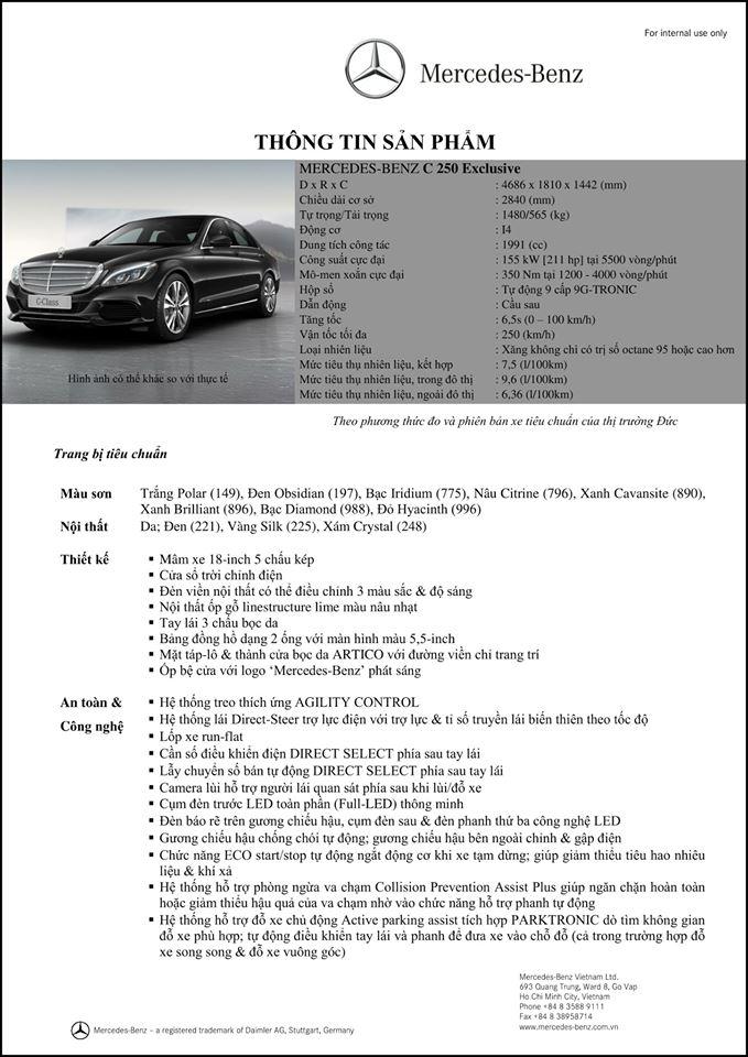 Thông số của Mercedes C250 Exclusive 2018