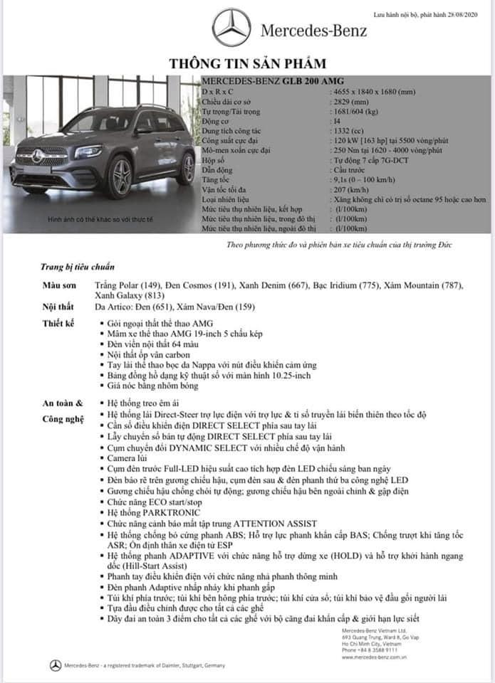 Thông số của Mercedes GLB 200 AMG